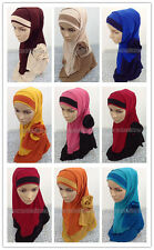 Fashion Big Flower Crystal Hemp 2 Piece Amira Hijab Muslim Hijab Islamic Scarf