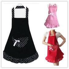Lovely Restaurant Bib Cooking Aprons with Pocket for Women Housewife 3 Colors