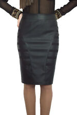 Casual Lined Pencil Bodycon Faux Leather Black Skirt 8 10 12 14 16 18 20 22