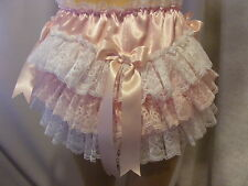 SISSY ADULT BABY PINK SATIN LACE FRILLY DIAPER COVER PANTIES WATERPROOF OPTION