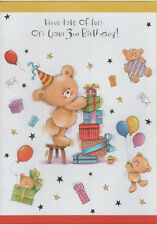 Large 3rd Birthday Card, Teddy Bears, Balloons, Presents, Party ( Three Third )