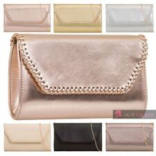 NEW WOMEN'S PLAIN ENVELOPE FAUX LEATHER EVENING CLUTCH HANDBAG PURSE