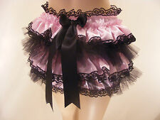 PINK/BLACK SATIN FRILLY SISSY ADULT BABY DIAPER COVER PANTIES WATERPROOF OPTION
