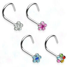 Lot of 4 Surgical Steel Flower Gem Nose Screws Rings Body Piercing Jewelry