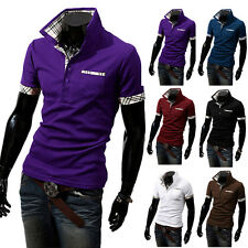 New Fashion Mens Slim Fit Stylish POLO Shirt Short Sleeve Casual T-shirts Tee re