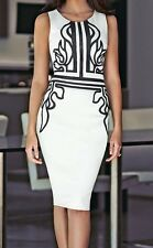 Chic Womens Printed Cocktail Party Dress Knee Length Midi White Black  8 10 12