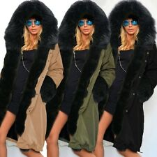 New Women Thicken Warm Winter Coat Faux Fur Zip Hooded Long Jacket Parka