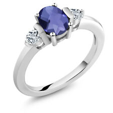 0.93 Ct Oval Checkerboard Blue Iolite White Topaz 925 Sterling Silver Ring