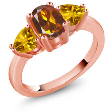 1.92 Ct Oval Orange Red Madeira Citrine Yellow Citrine 14K Rose Gold Ring