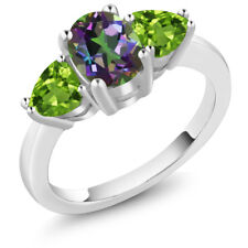 2.26 Ct Oval Green Mystic Topaz Green Peridot 925 Sterling Silver Ring