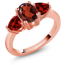 2.28 Ct Oval Red Garnet 18K Rose Gold Plated Silver Ring