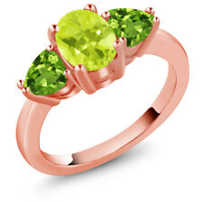 2.06 Ct Oval Yellow Lemon Quartz Green Peridot 14K Rose Gold Ring