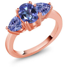 2.10 Ct Oval Blue Mystic Topaz Blue Tanzanite 18K Rose Gold Ring