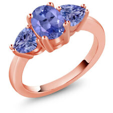 1.96 Ct Oval Blue Tanzanite 18K Rose Gold Ring