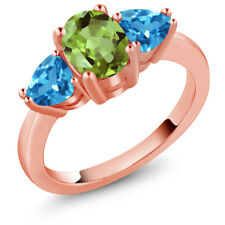 2.49 Ct Oval Green Peridot Swiss Blue Topaz 18K Rose Gold Plated Silver Ring