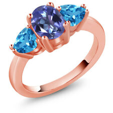 2.46 Ct Oval Blue Mystic Topaz Swiss Blue Topaz 18K Rose Gold Plated Silver Ring