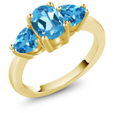 2.56 Ct Oval Swiss Blue Topaz 14K Yellow Gold Ring