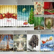 Waterproof Polyester Shower Curtain Bathroom Christmas Natural Landscape 12Hooks
