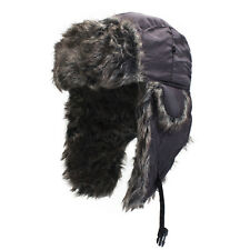 Grey Fur Winter Cold Weather Trooper Hat with Ear Flaps - BLACK - FREE SHIP