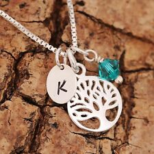 Sterling Silver Personalised Tree of Life Pendant Chain Necklace Birthstone /Box