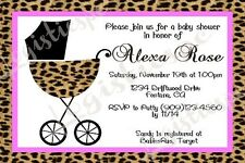 Leopard Baby Carriage Baby Shower U-Print / Printed Invitation / 2 Designs