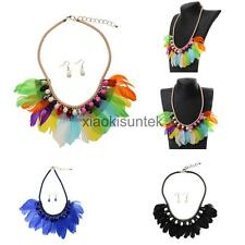 Ladies Girls Feather Tassel Crystal Beads Tribal Necklace Earrings Sets
