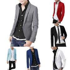 Formal Stylish Mens Men Slim Fit One Button Suit Blazer Business Coat Jacket Top