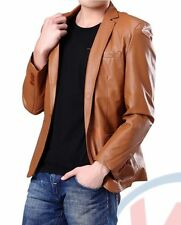 Brand New Men's Genuine soft Lambskin Leather ONE BUTTON Blazer Jacket Coat MB09