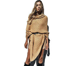 Women's Chic Turtleneck Knitted Poncho Pullovers Sweater
