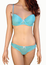 Aqua Blue Lace Bra Set Push Up Cups w Ruffle Thong Panty Rene Rofe SWT