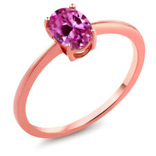 0.90 Ct Oval Pink Created Sapphire 10K Rose Gold Women's Solitaire Ring