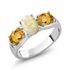 1.31 Ct Oval Cabochon White Ethiopian Opal Yellow Citrine 925 Silver Ring