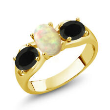 1.29 Ct Cabochon White Ethiopian Opal Onyx 18K Yellow Gold Plated Silver Ring