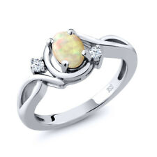 0.59 Ct Oval Cabochon White Ethiopian Opal White Topaz 925 Sterling Silver Ring