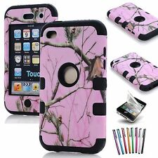 For iPod Touch 4th Gen -Hard Soft Rubber High Impact Armor Case Hybrid Cover
