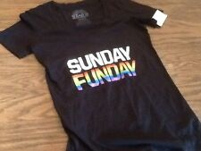 Wear It With Pride T-Shirt Womens Size M Sunday Funday Black V neck