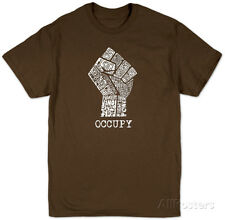 Occupy Wall Street Fight The Power Fist Apparel T-Shirt - Brown