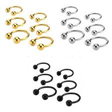 Stainless Steel Ball Horseshoe Bar Nose Ear Ring Body Piercing Jewelry 3 Colors