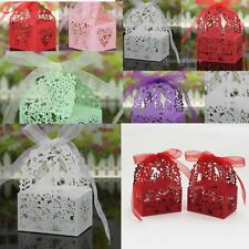Wedding Sweets Lace Laser Butterfly Cut Wedding Favor Candy Gifts Boxes 50PCS