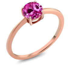 1.00 Ct Round Pink Created Sapphire 10K Rose Gold Women's Solitaire Ring