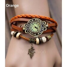 Woman Lady Fashion Weave Wrap Around Leather Quartz Bracelet Wrist Watch