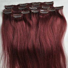Burgundy Red Remy Hair Clip In 100%Real Human Hair Extensions 75g 7pcs 16''~22''