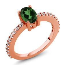 Emerald Envy Mystic Topaz and Created Sapphire 18K Rose Gold Plated Silver Ring