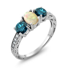 1.73 Ct Oval Cabochon White Ethiopian Opal Blue Diamond 925 Sterling Silver Ring