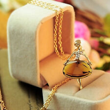 Sweater Women Long Chain Crystal Ballet Girl Gold Plated Pendant Necklace