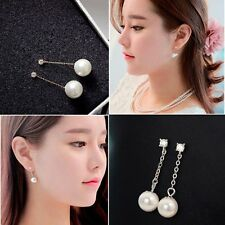 Drop Rhinestone Jewelry Silver Plated Pearl Earrings Ear Studs Crystal