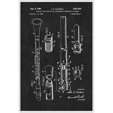 Clarinet Musical Instrument Patent Blueprint Poster, Clarinet Photo Art