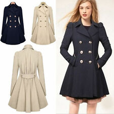 New Women's Slim Trench Coat Double Breasted Trench Long Jacket Overcoat Outwear