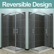 Corner Entry Shower Enclosure Walk in Cubicle Sliding Glass Door + Stone Tray