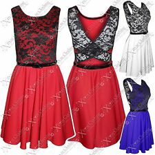 LADIES WOMENS BLACK LACE TOP BELT SLEEVELESS SKATER DRESS FLARE SKIRT DRESSES